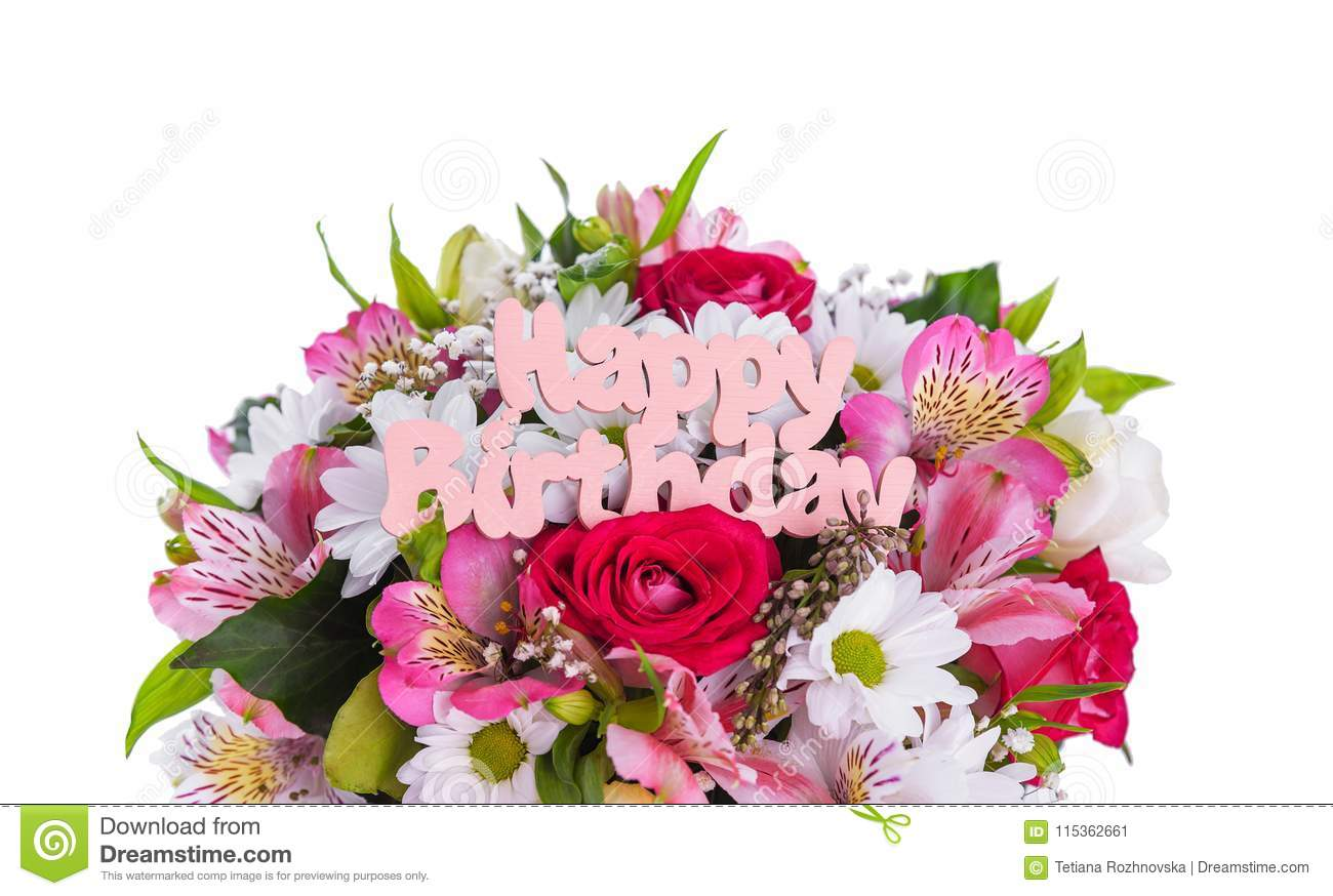 Inscription is happy birthday on the flowers stock image image of inscription is happy birthday on the flowers izmirmasajfo
