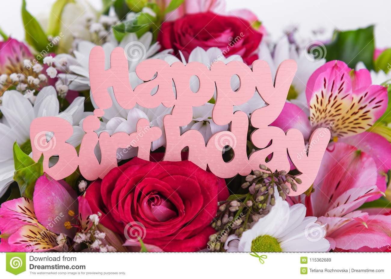Inscription is happy birthday on the flowers stock image image of download inscription is happy birthday on the flowers stock image image of anniversary izmirmasajfo