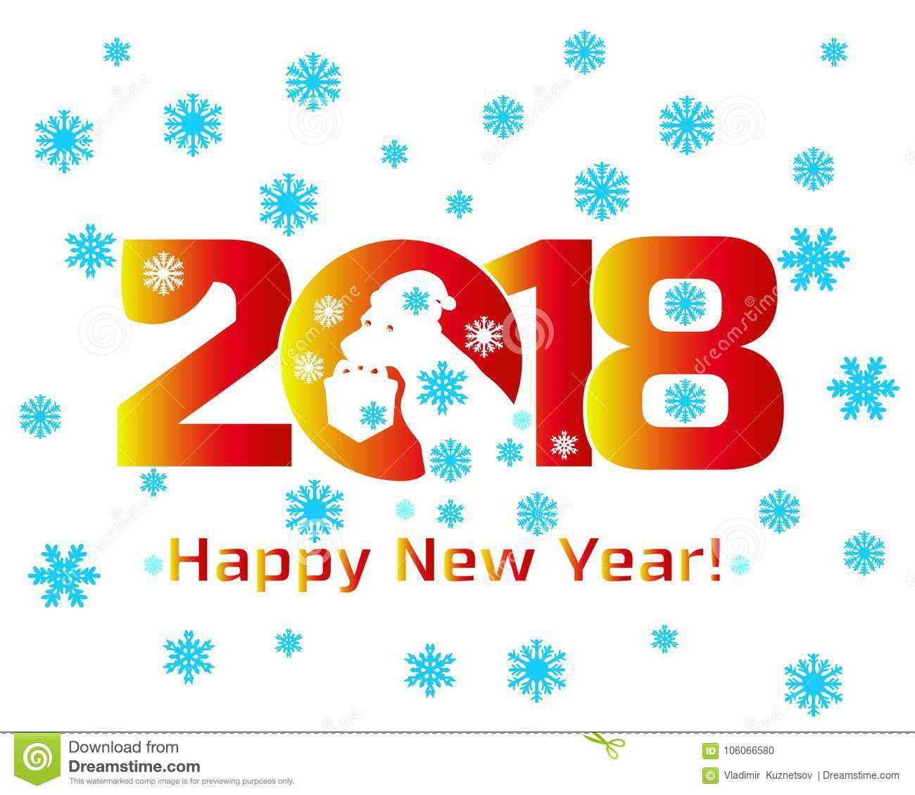 inscription 2018 happy new year and the head of a dog with a gift banner on a white background and snowflakes vector