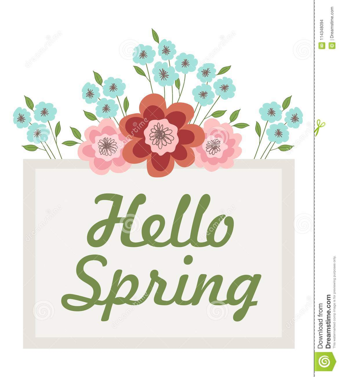 Inscription Hello Spring in a frame decorated with flowers and leaves. Vector illustration on white background