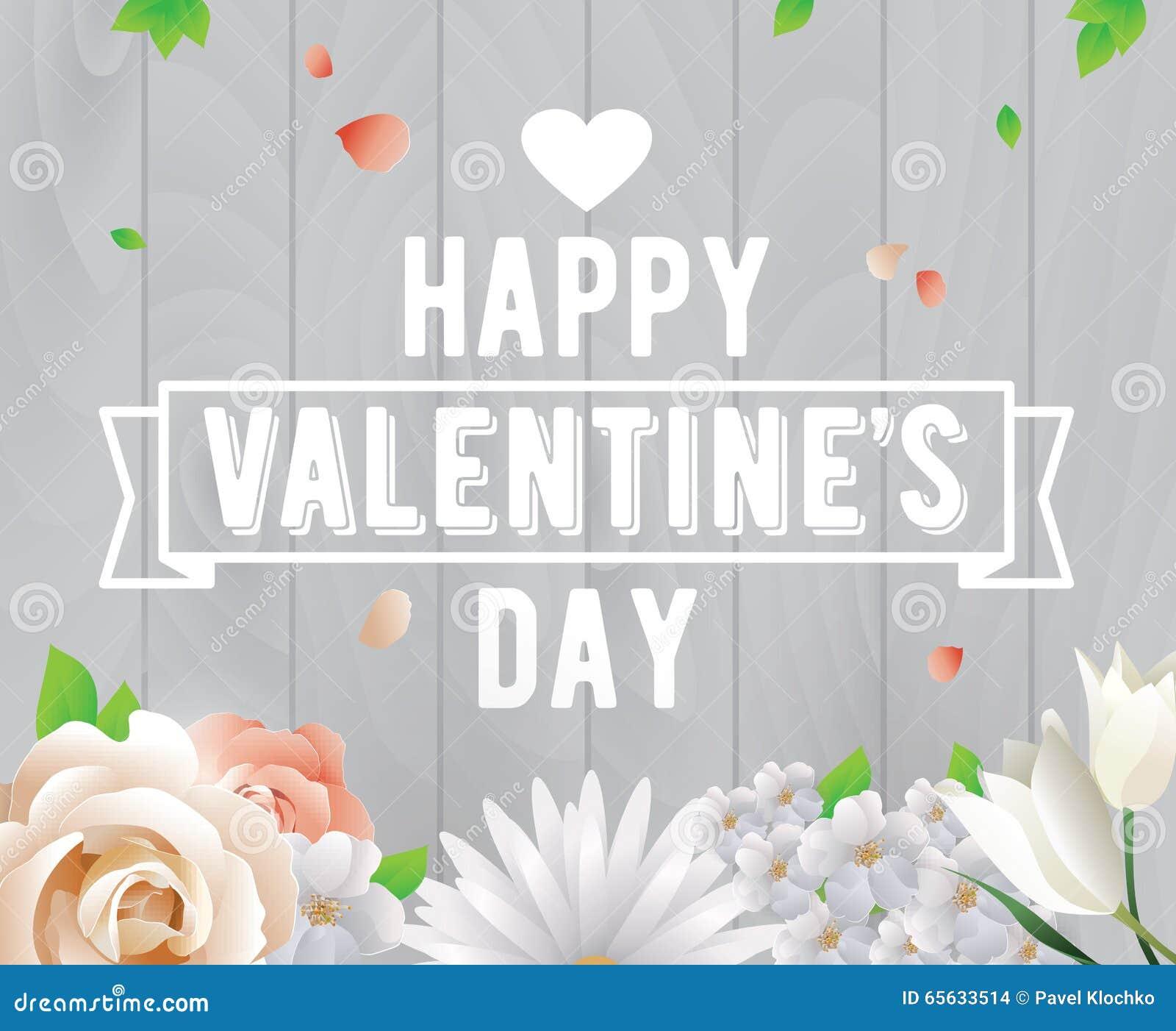 Inscription heureuse de jour de valentines Carte de voeux, invitation ou affiche de vecteur Concevez avec le ruban, fleurs, roses