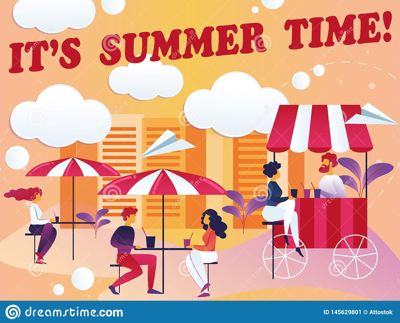 Inscription its Summer Time Vector Illustration.