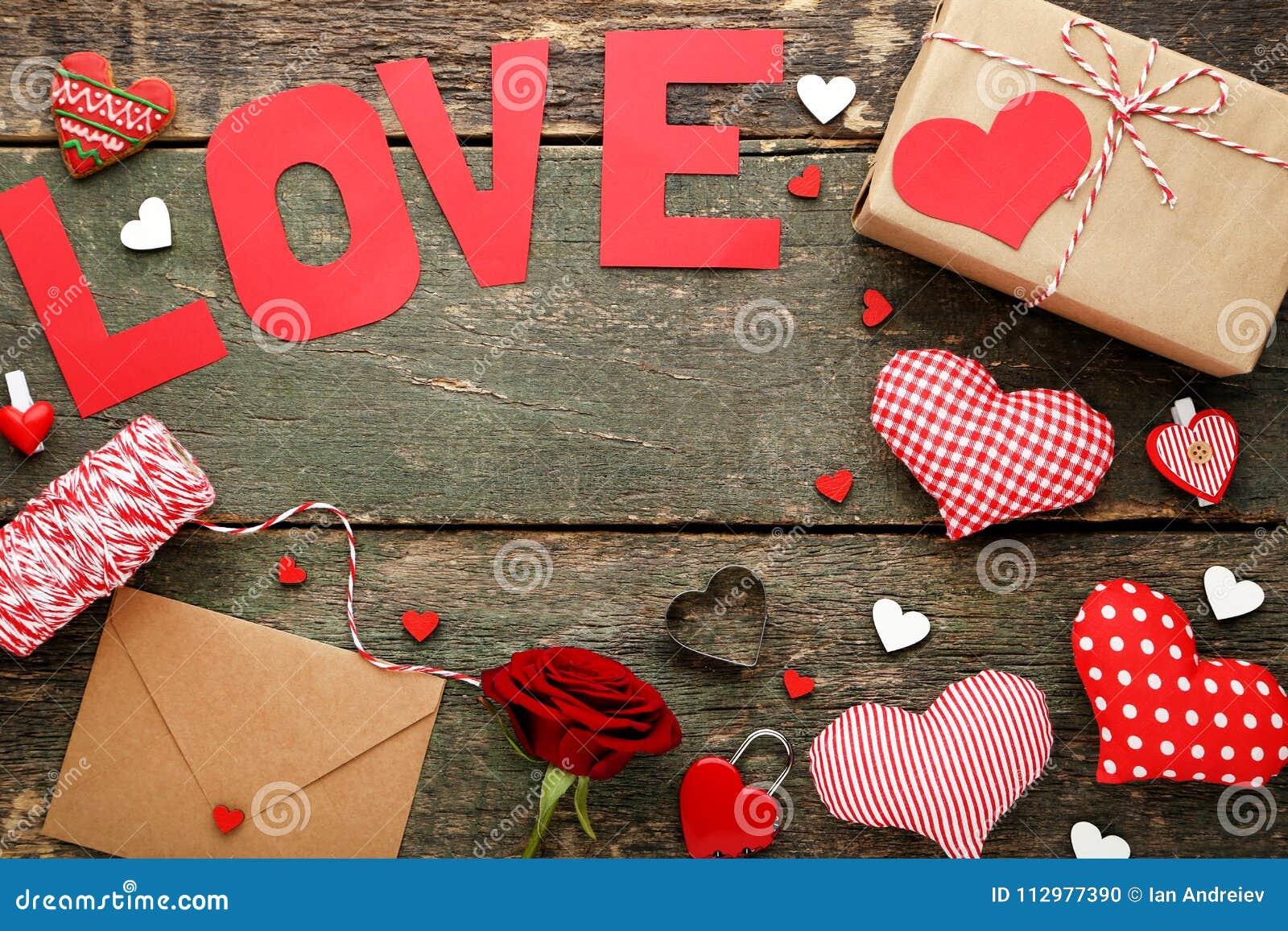 Inscription Love with rose, envelope