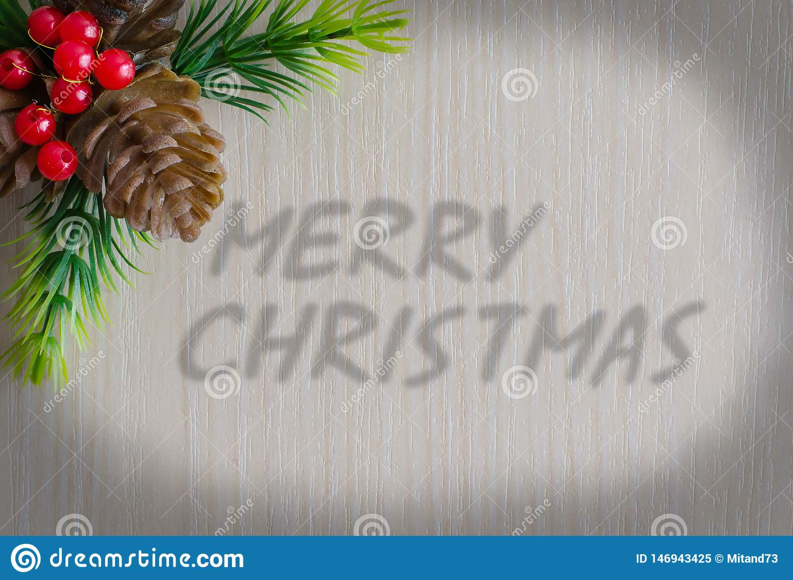 The Inscription Merry Christmas. Background - wood texture
