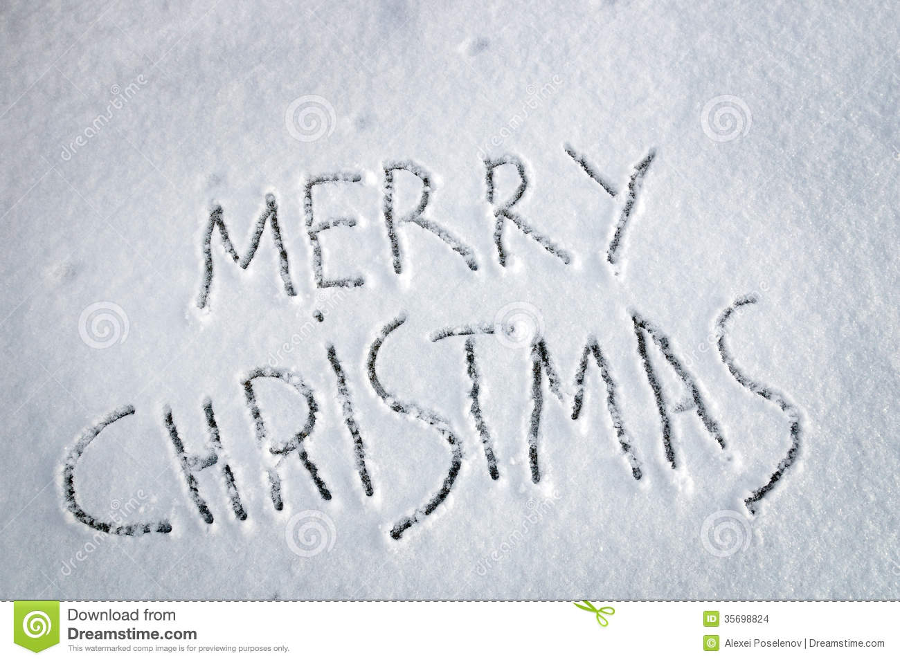 Inscription Merry Christmas Written On Snow Stock Images - Image ...