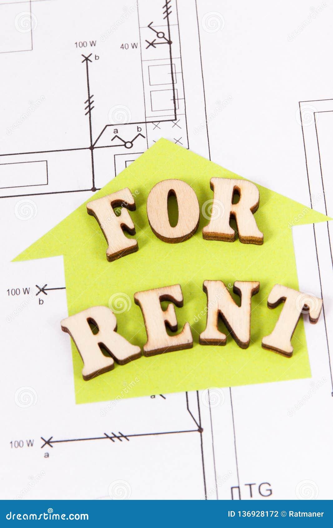 Inscription pour le loyer et la forme à la maison sur le plan électrique de logement de construction, la maison à louer ou le con