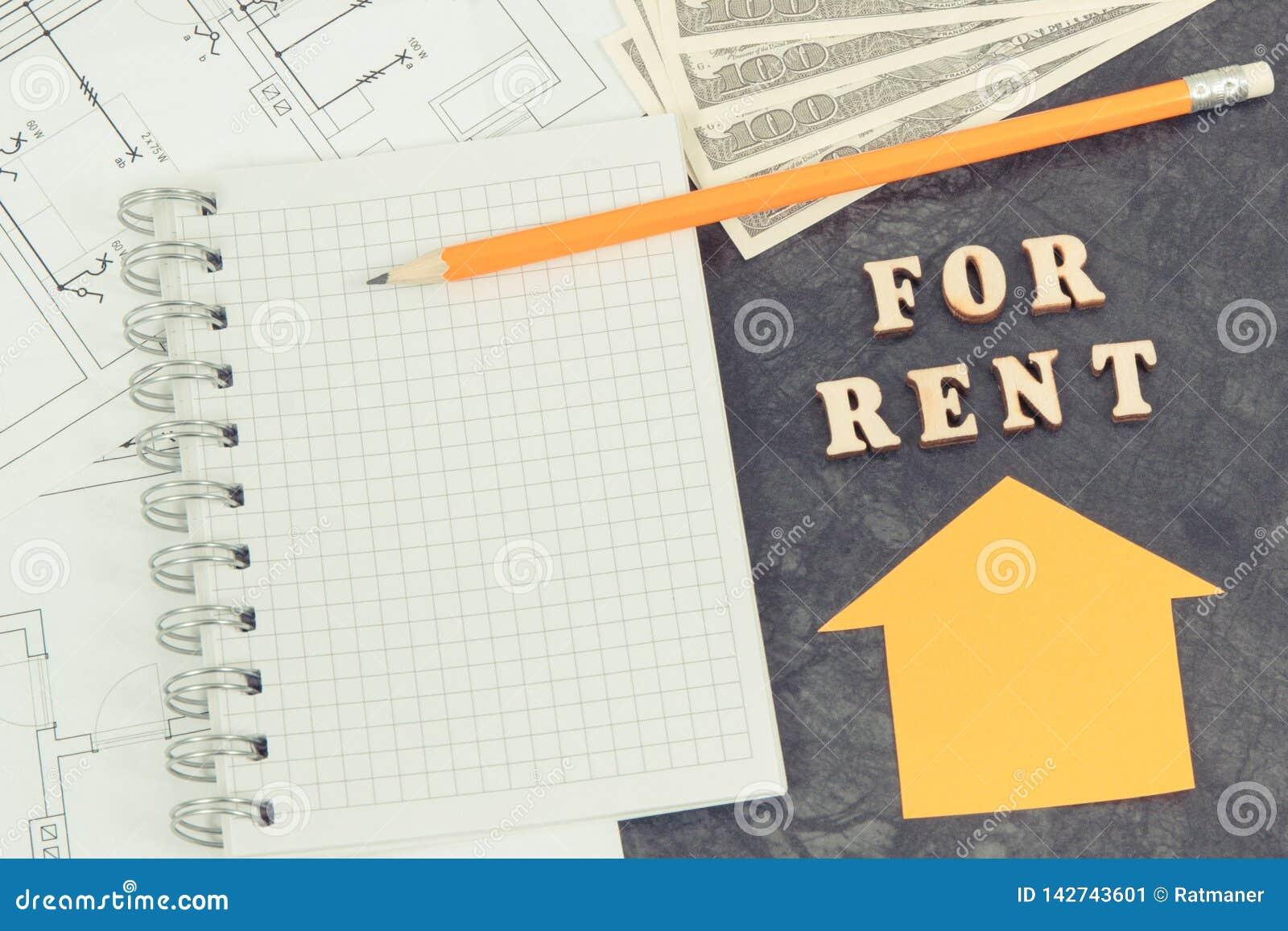 Inscription pour le loyer, les devises dollar, le bloc-notes et les diagrammes électriques, la maison à louer ou le concept plat