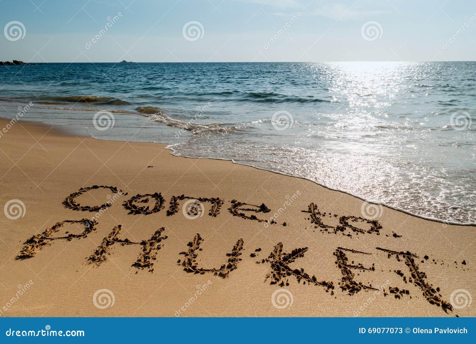 inscription on the sand Ñ Ð me to phuket stock image image of