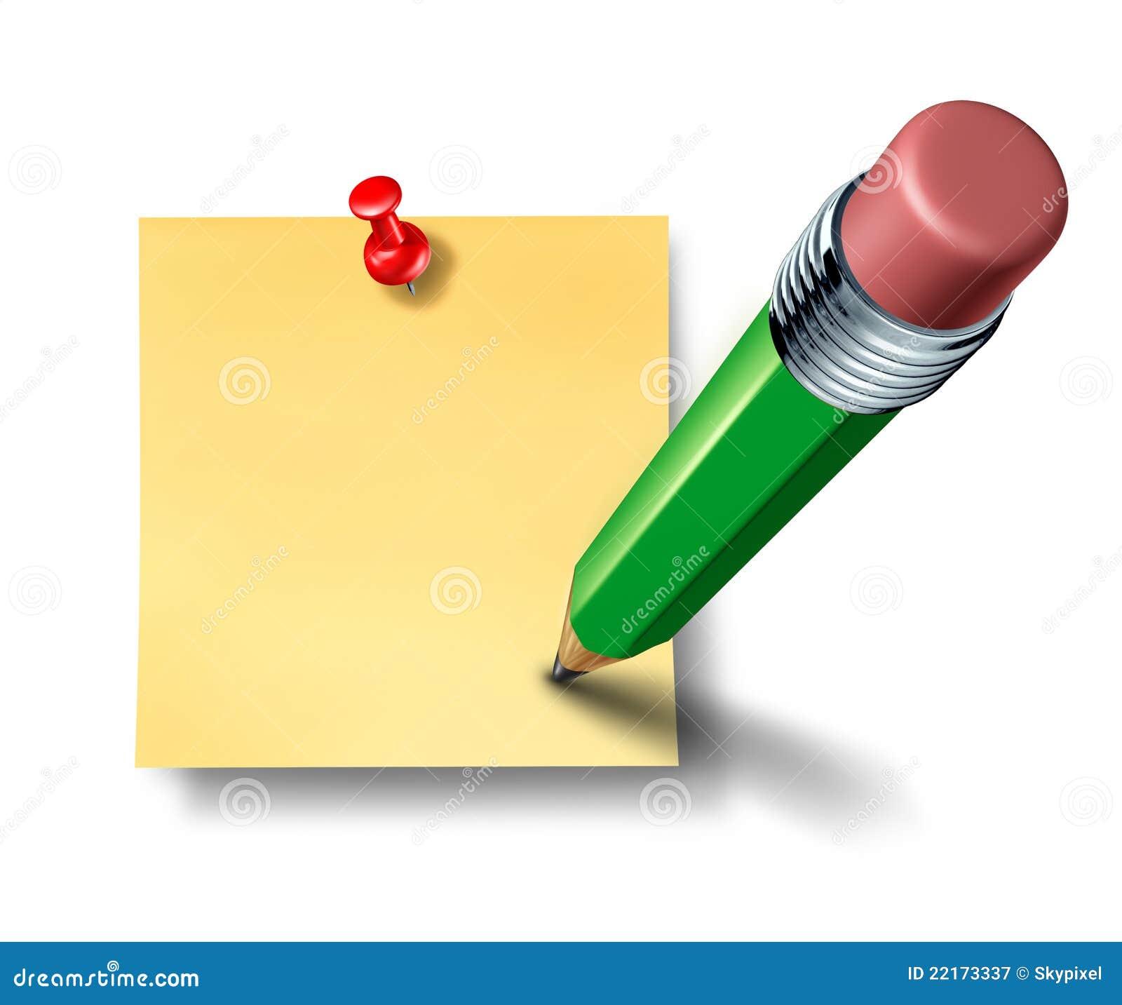 inscription sur une note blanc de bureau avec le crayon vert photographie stock libre de droits. Black Bedroom Furniture Sets. Home Design Ideas
