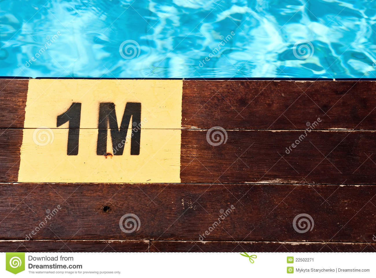 Inscription Of The Swimming Pool Depth Of 1 Meter Stock