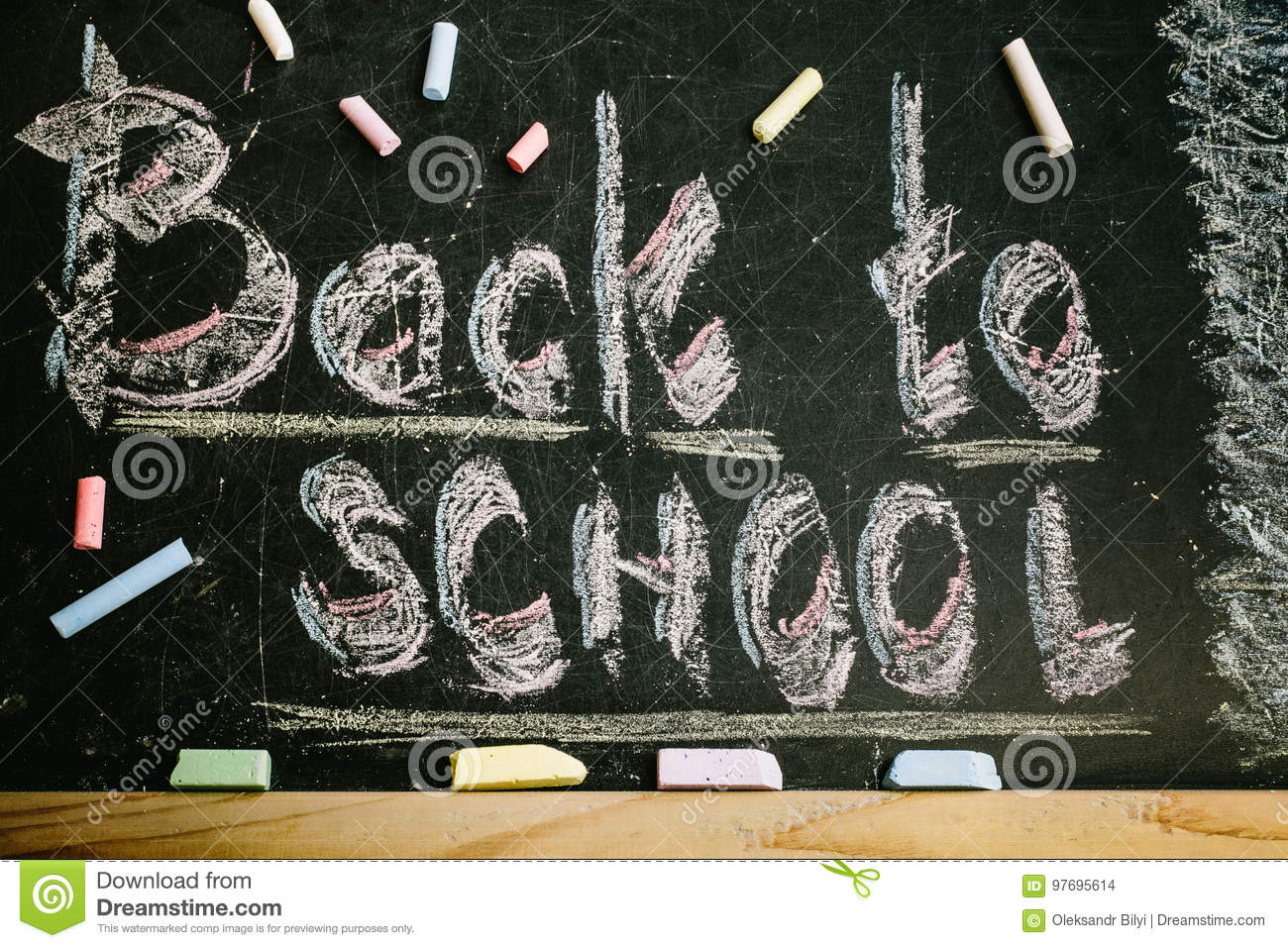 Download Chalk With Words Back To School Stock Photo - Image of educate, colorful: 97695614