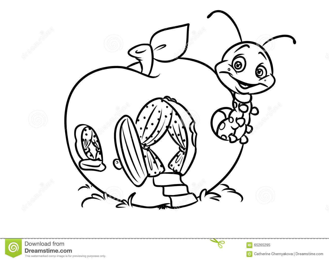 insect apple coloring page stock illustration image 65265295