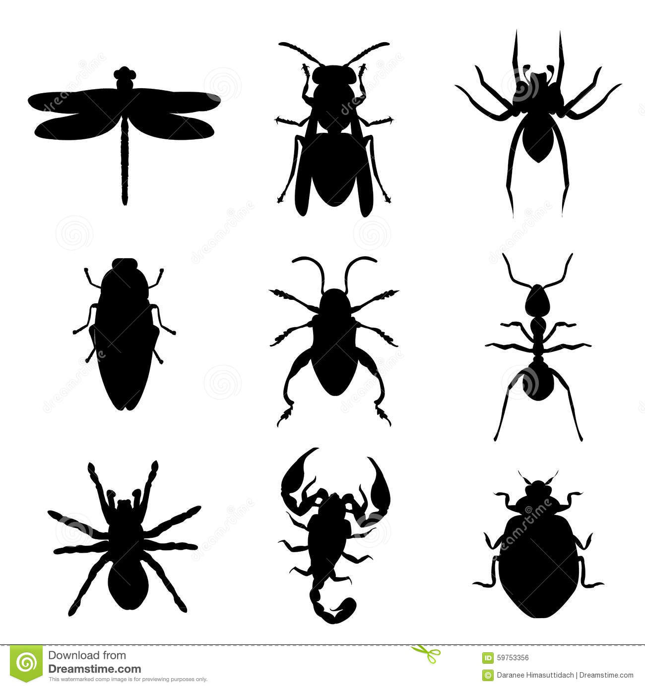 Insect bug animal silhouette icon black vector for Black and white only