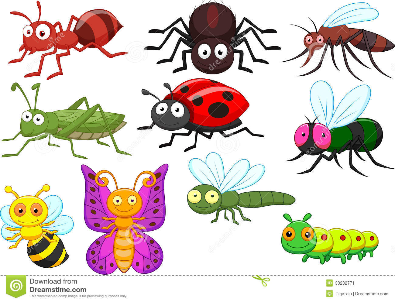 Insect Cartoon Collection Set Stock Image Image 33232771