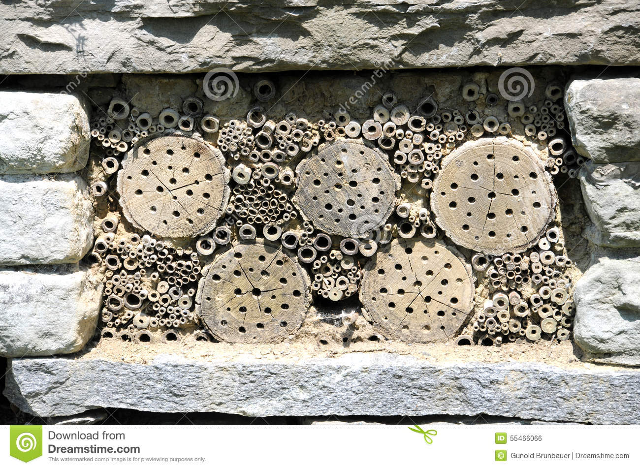 Insect hotel stock photo image 55466066 - Houses made from natural materials ...