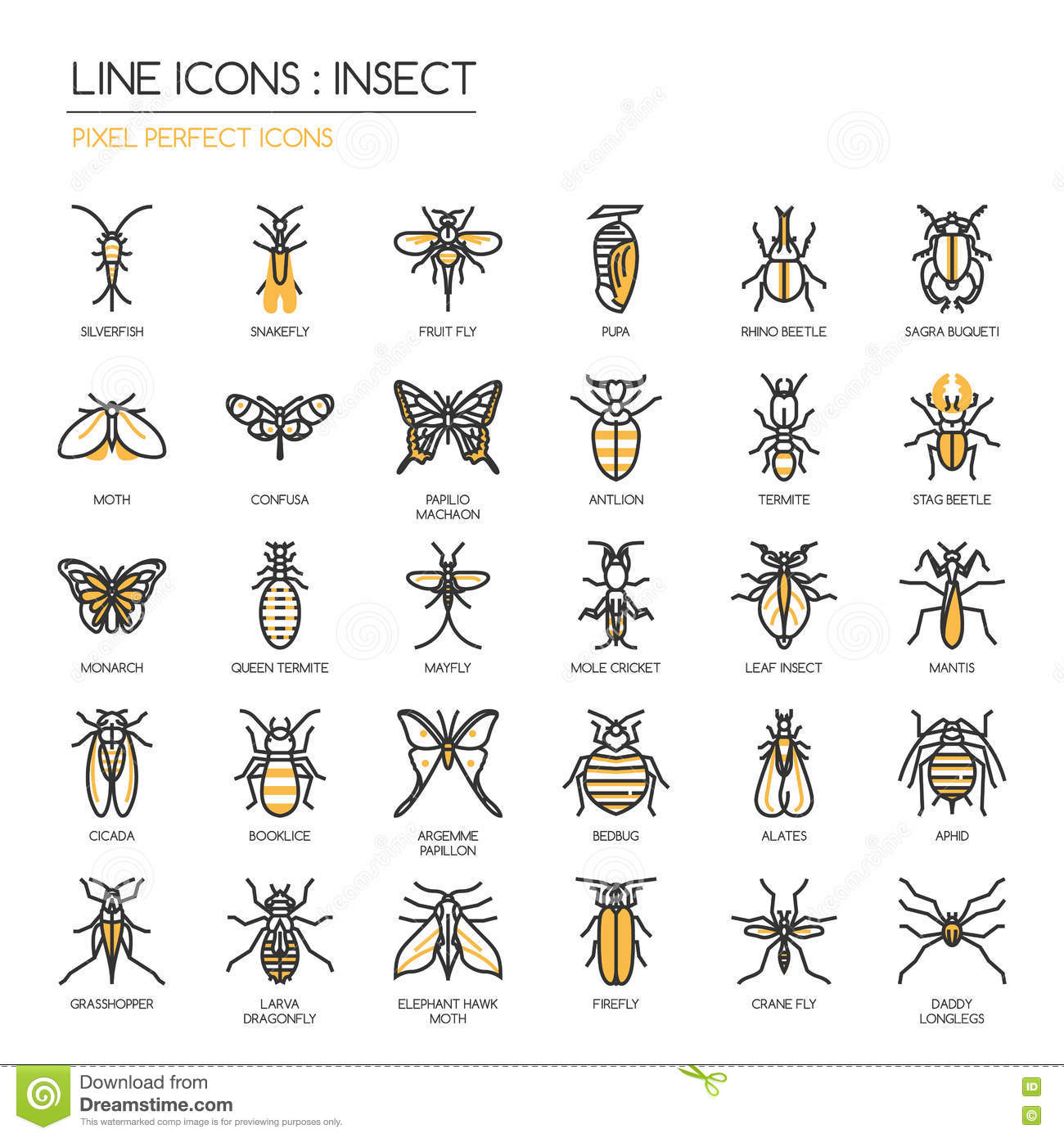 Insect   Pixel Perfect Icon Stock Vector