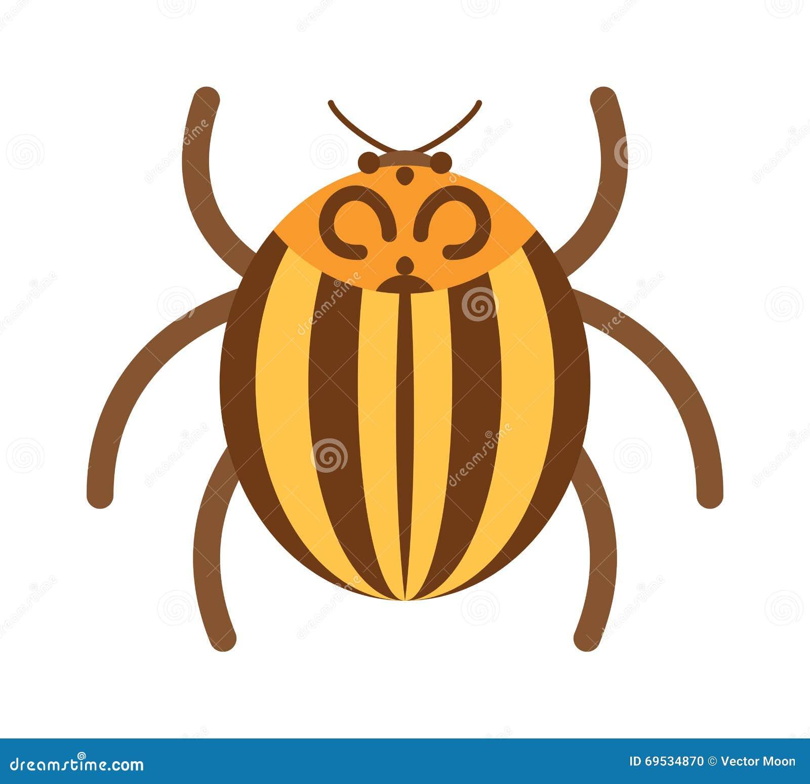Insecte plat d insecte de scarabée dans l illustration de vecteur de style de bande dessinée