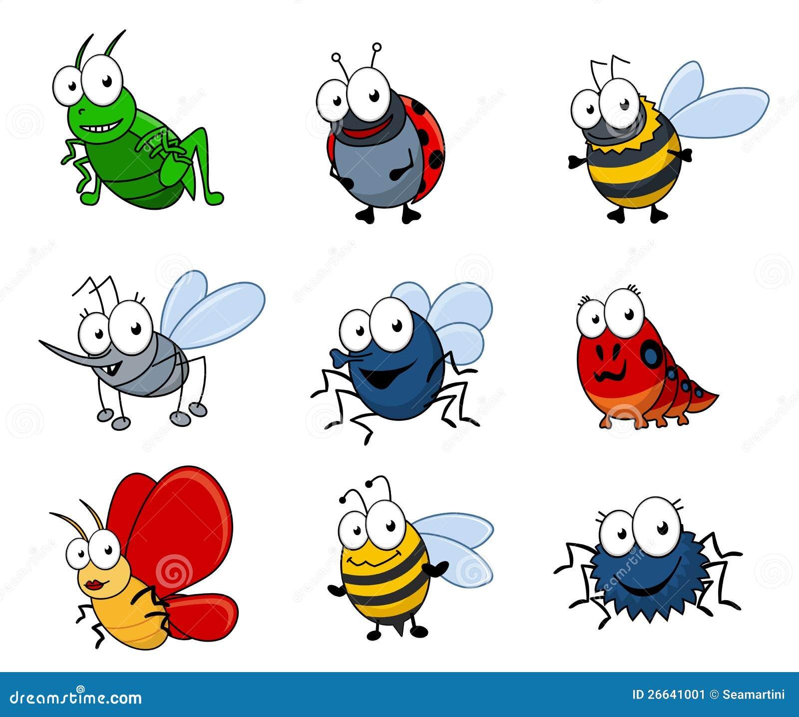 Insectes de dessin animé réglés