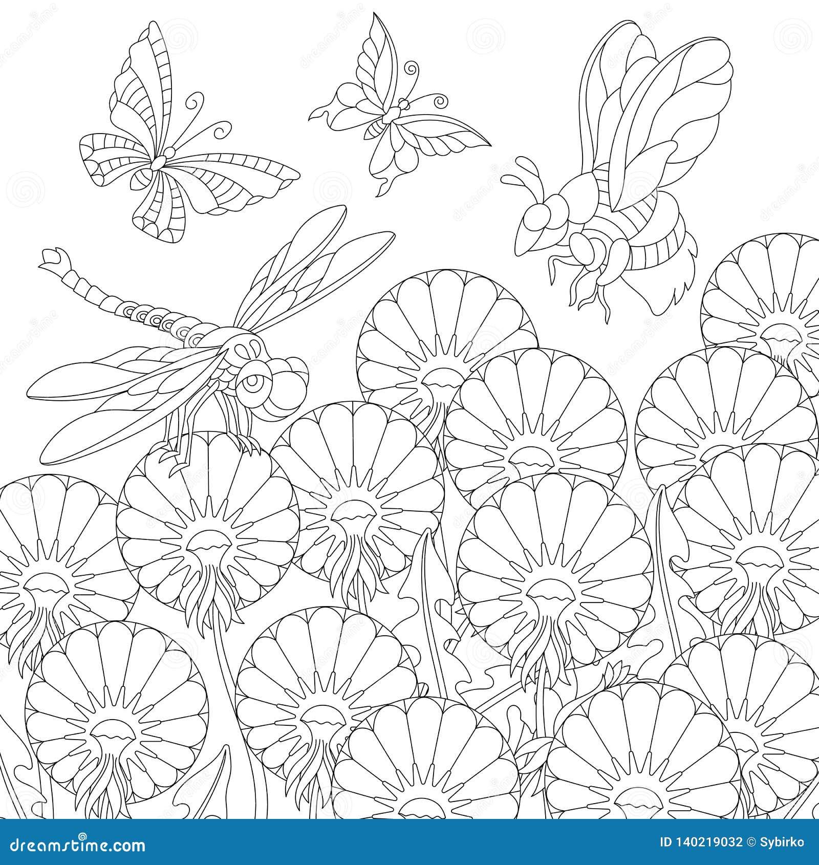 Coloriage Fleur Insecte.Insectes De Zentangle Et Fleurs De Pissenlit Colorant La Page