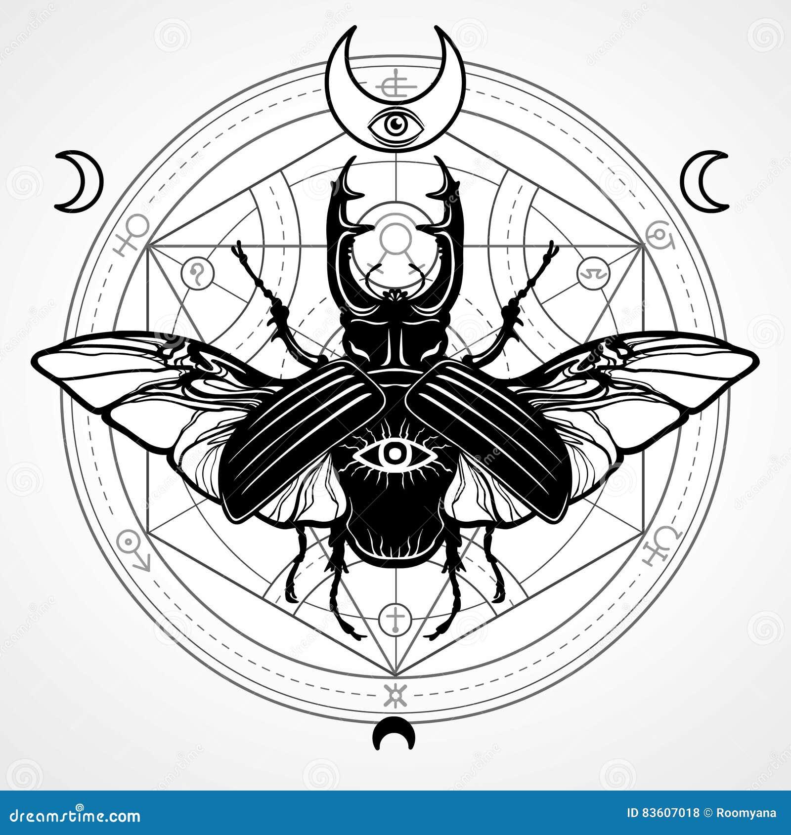 Insecto de cuernos Círculo místico Símbolo esotérico, geometría sagrada