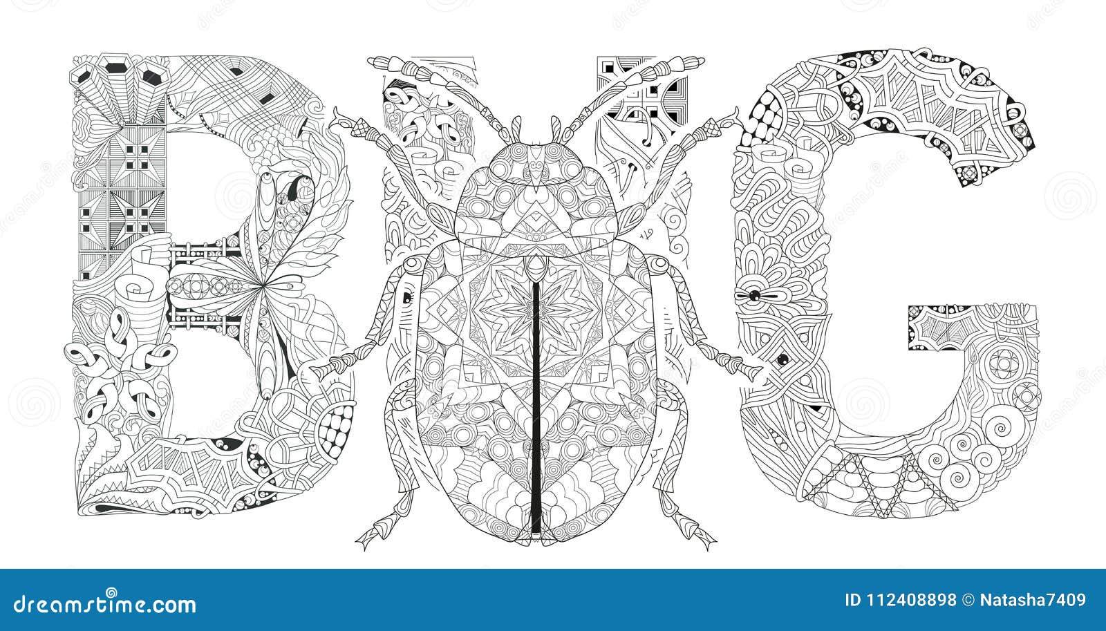 Insecto De La Palabra Para Colorear Con La Silueta Del Escarabajo