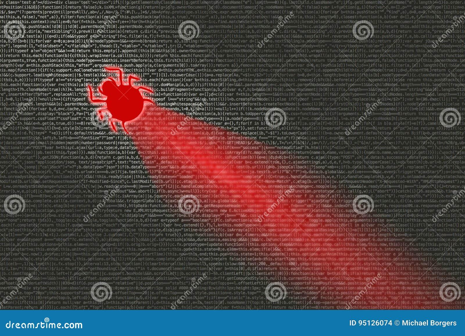 Insecto que infecta concepto del cybersecurity del código de ordenador