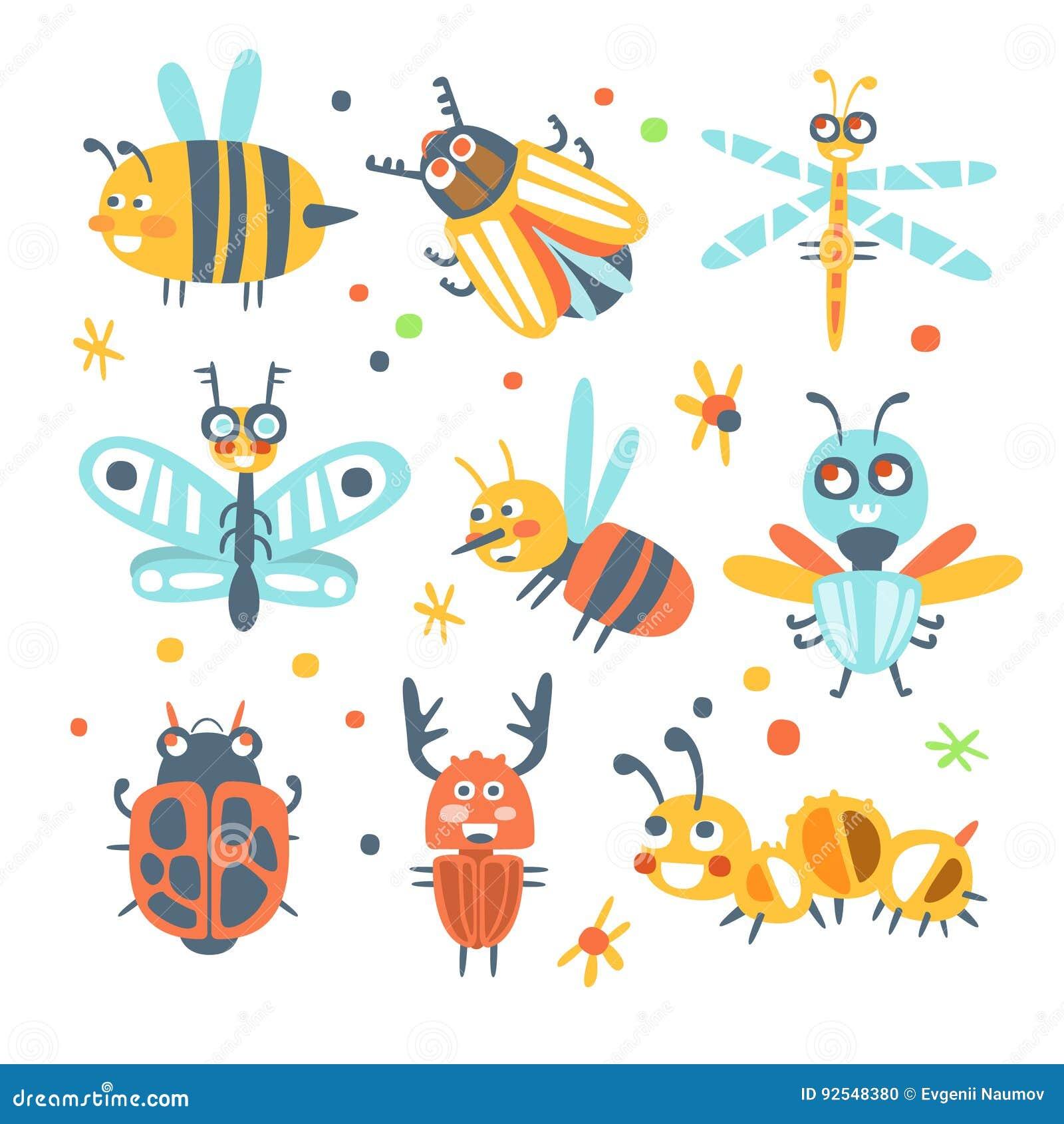 Insectos Lindos De La Historieta Fijados Personajes De Dibujos
