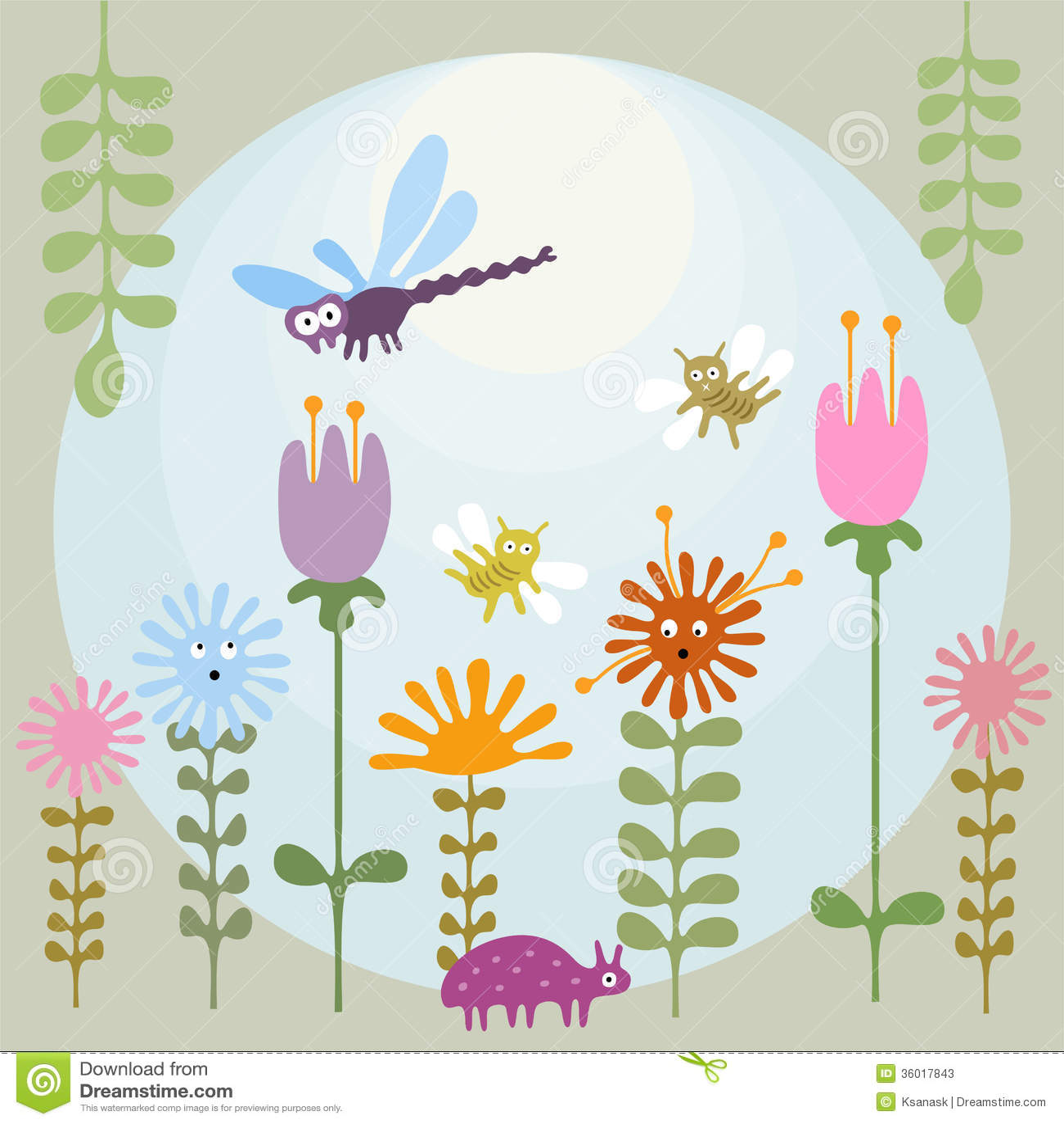 Flower garden cartoon - Cartoon Cute Eyed Flower Garden