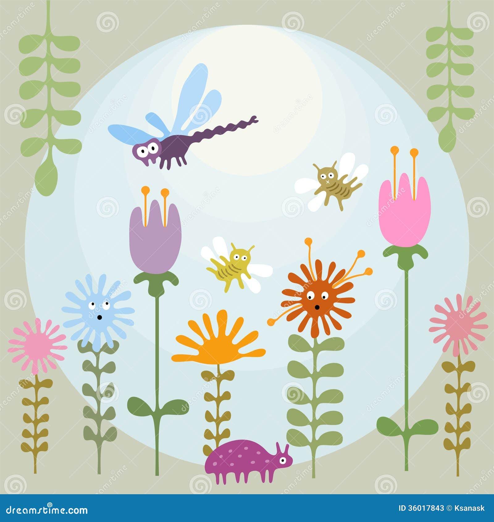 Garden Cute Cartoon: Insects In Flower Garden Stock Photos