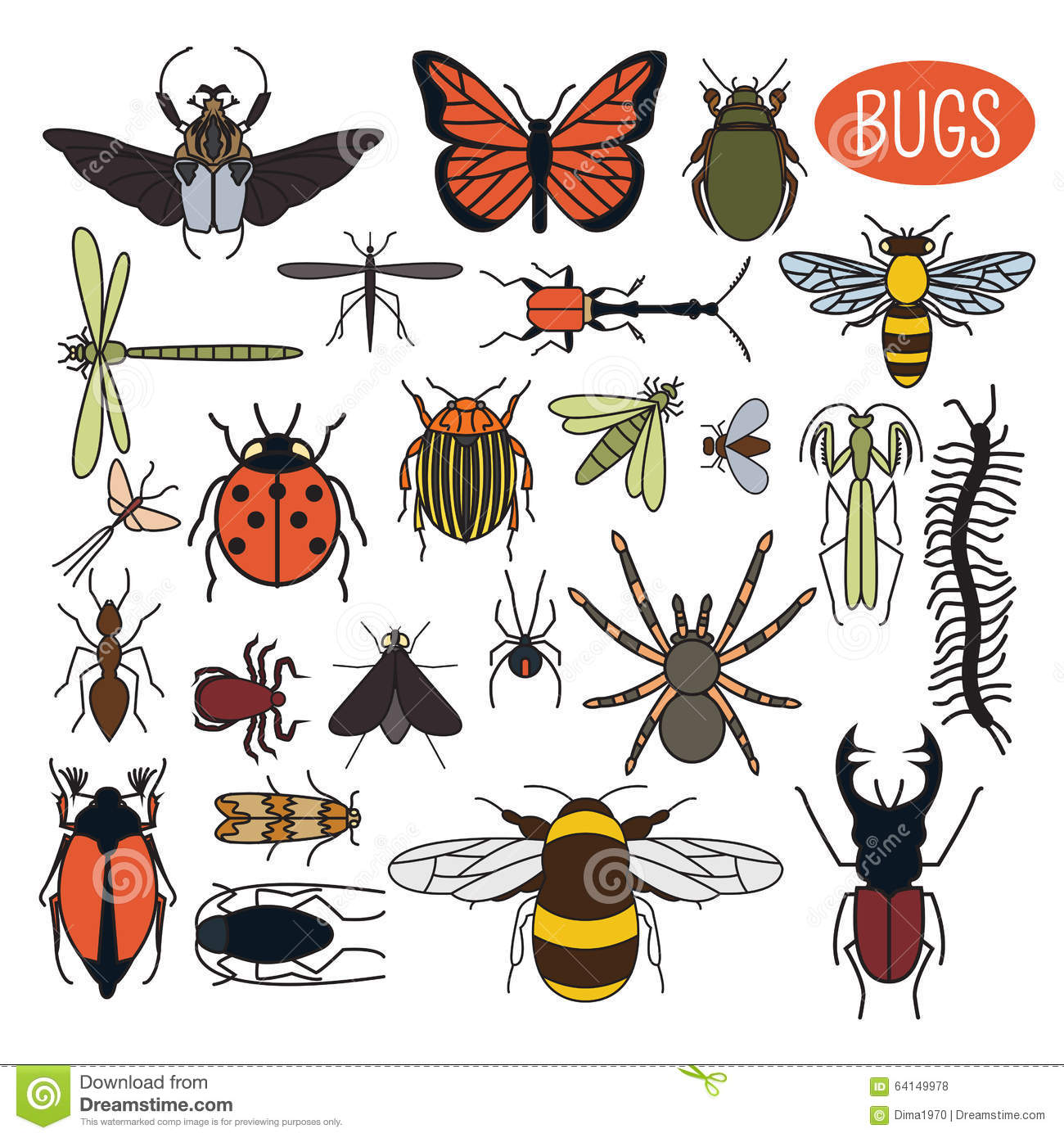 Insects icon flat style. 24 pieces in set. Colour version