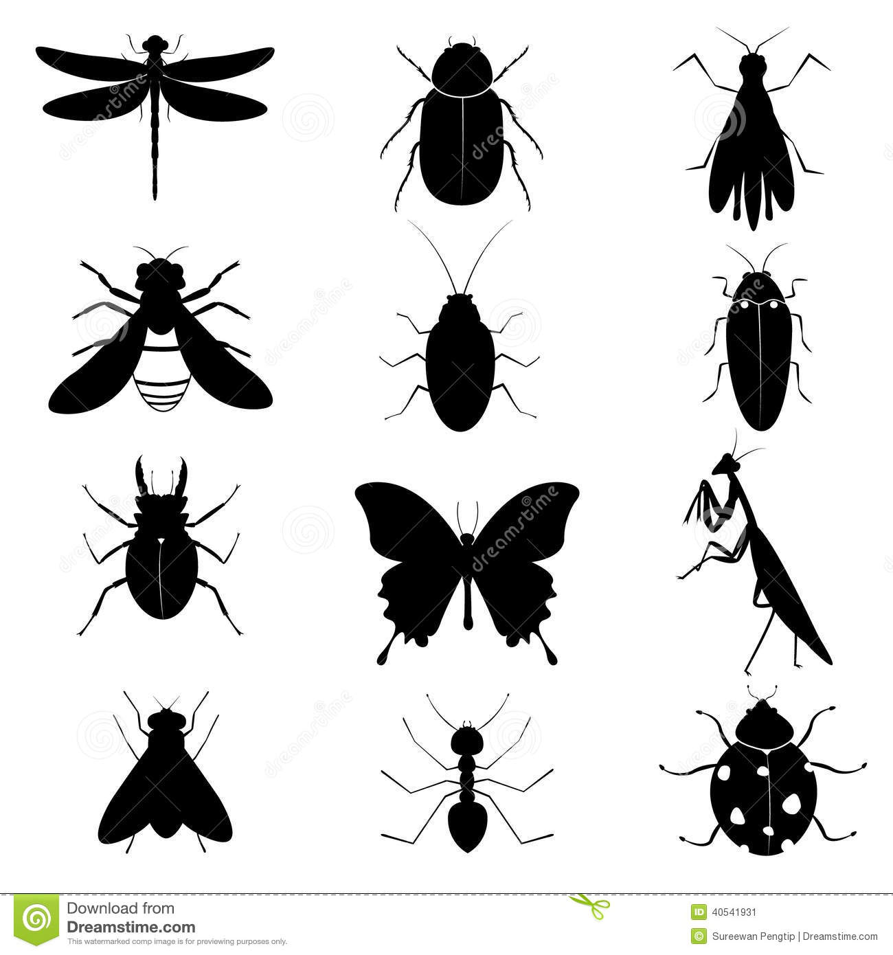 Flying Black Beetle Insects Silhouettes Co...