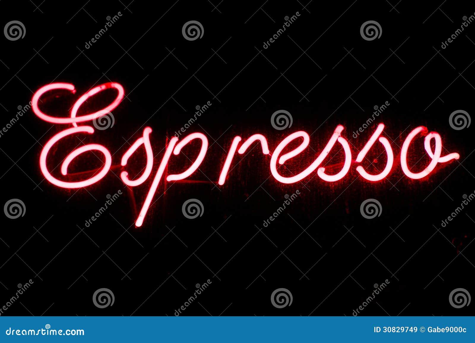 Insegna al neon del caffè espresso