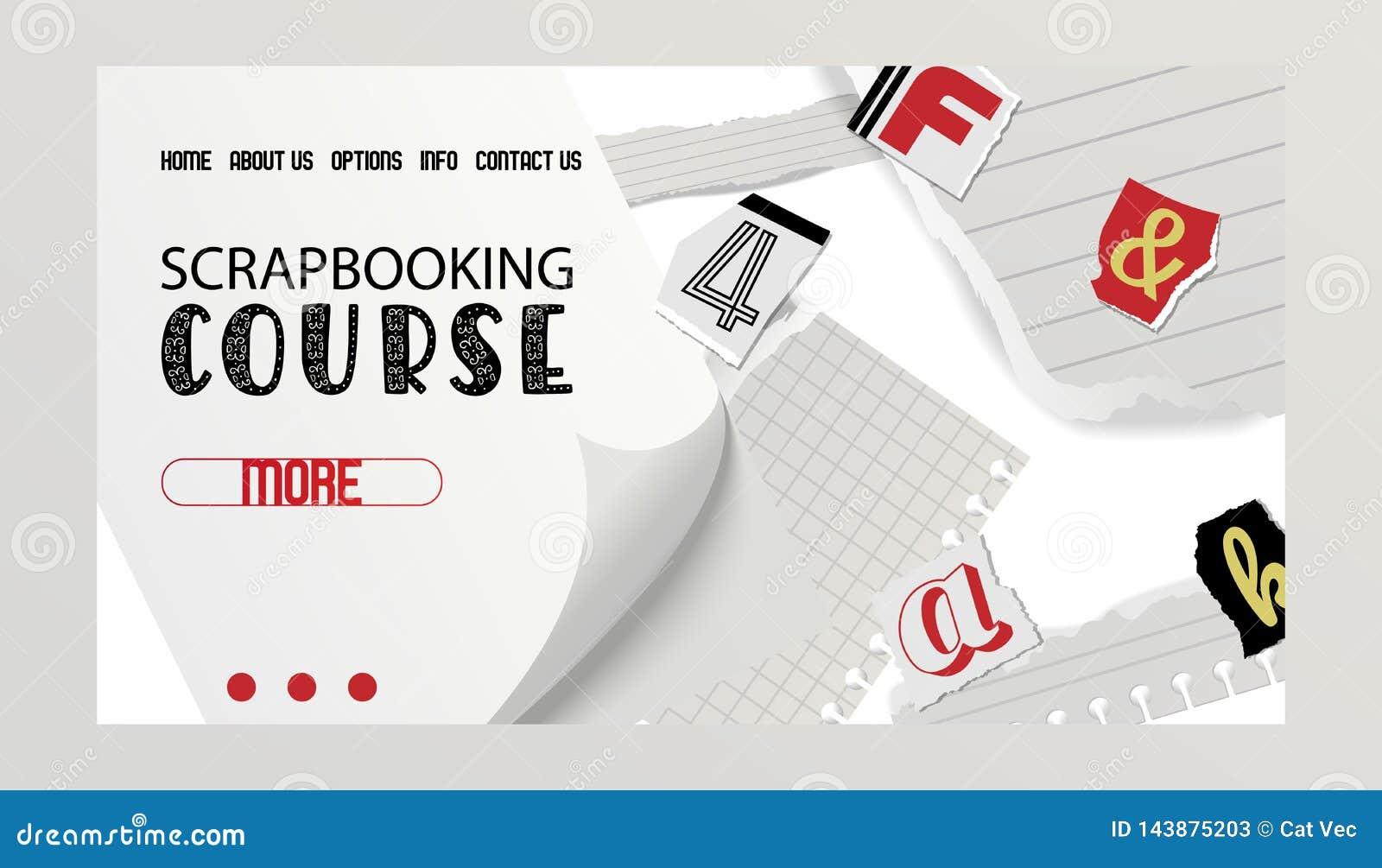 Insegna alfabetica del collage, illustrazione di vettore di web design Corso di Scrapbooking Parole tagliate dalle forbici da