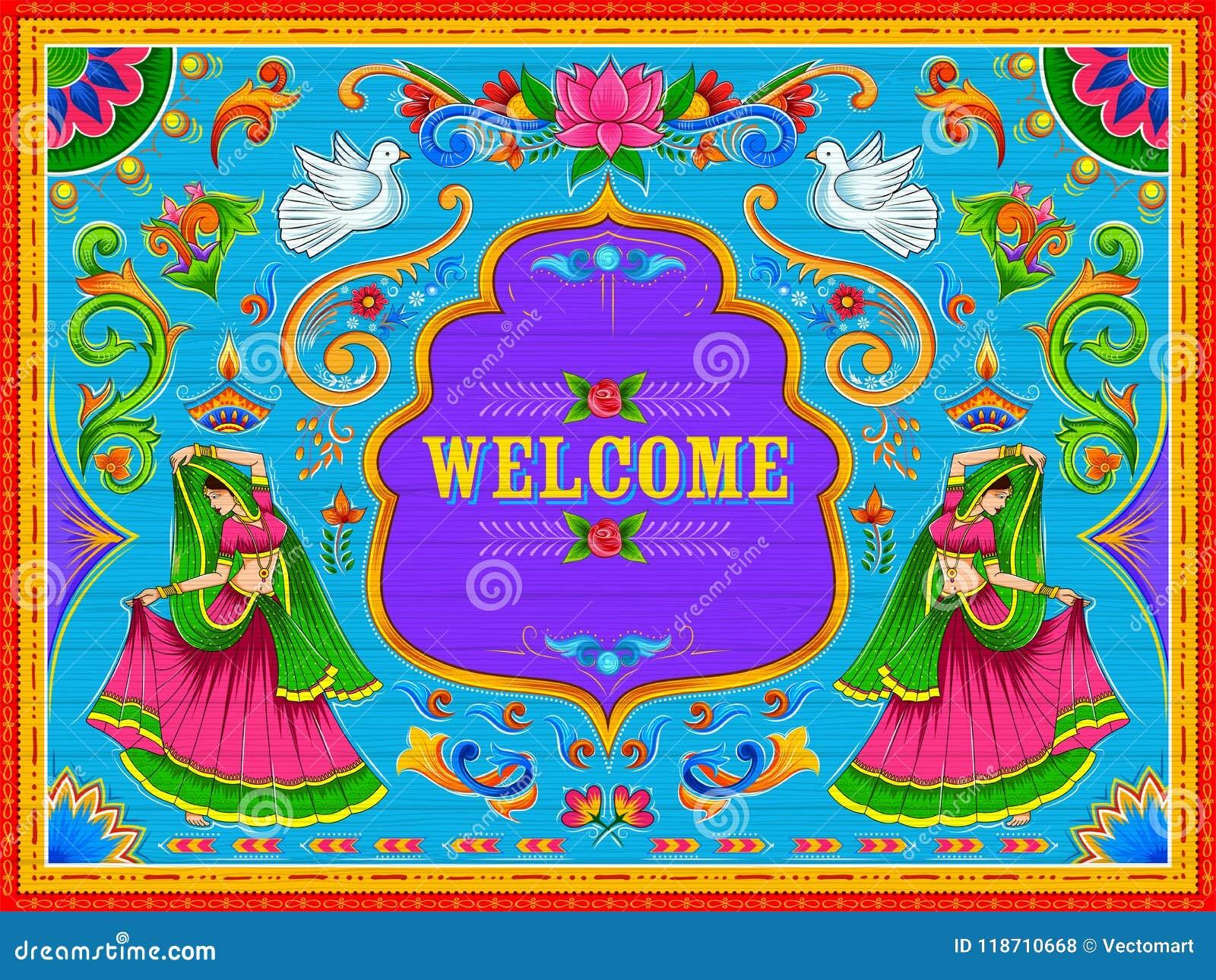 Insegna benvenuta variopinta nello stile del kitsch di arte del camion dell India
