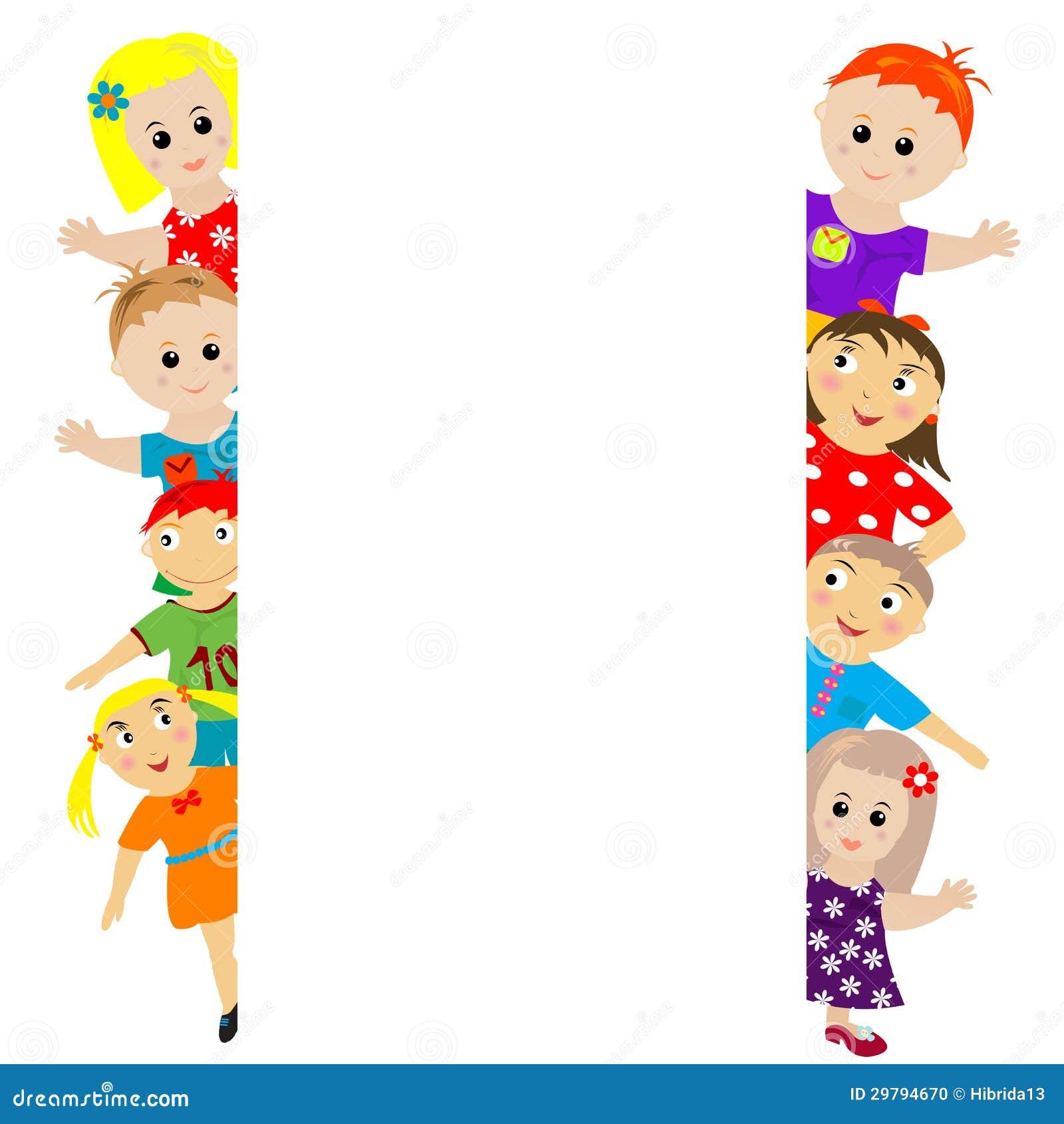 Insegna Con I Bambini Stilizzati Intorno Illustrazione Vettoriale