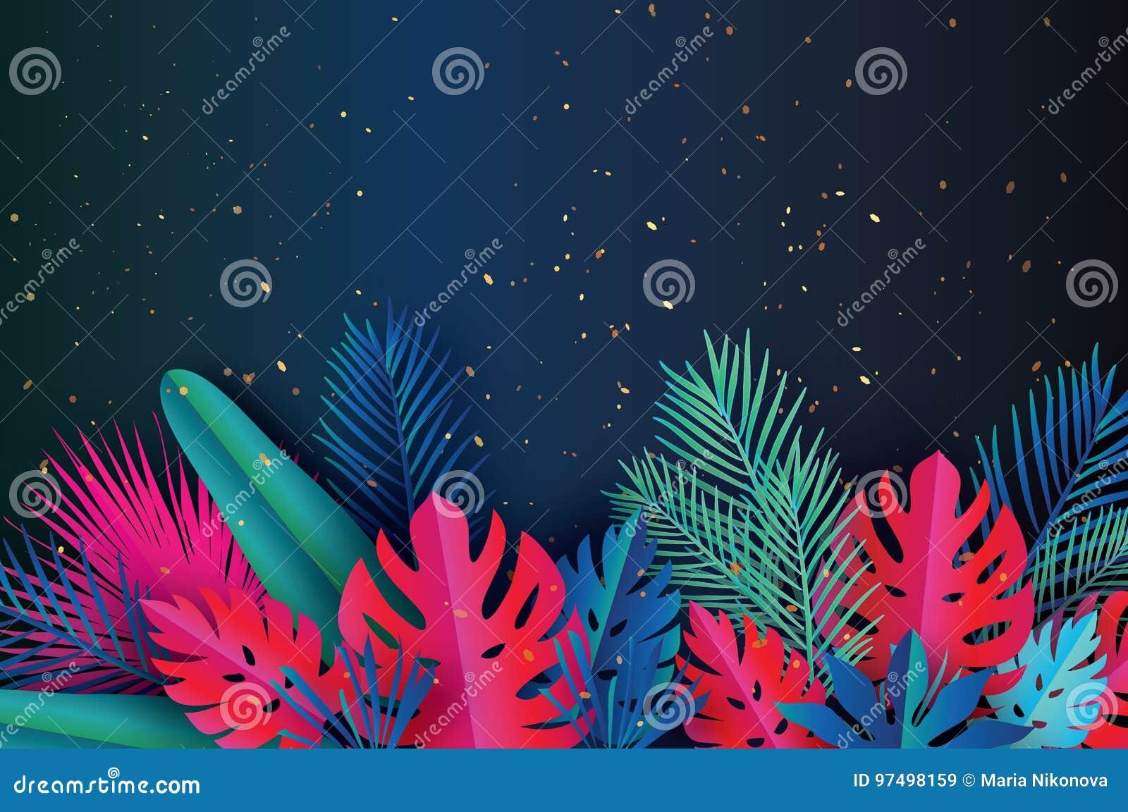 Insegna d avanguardia del modello di vendita di estate Foglie di palma tropicali di arte di carta, piante