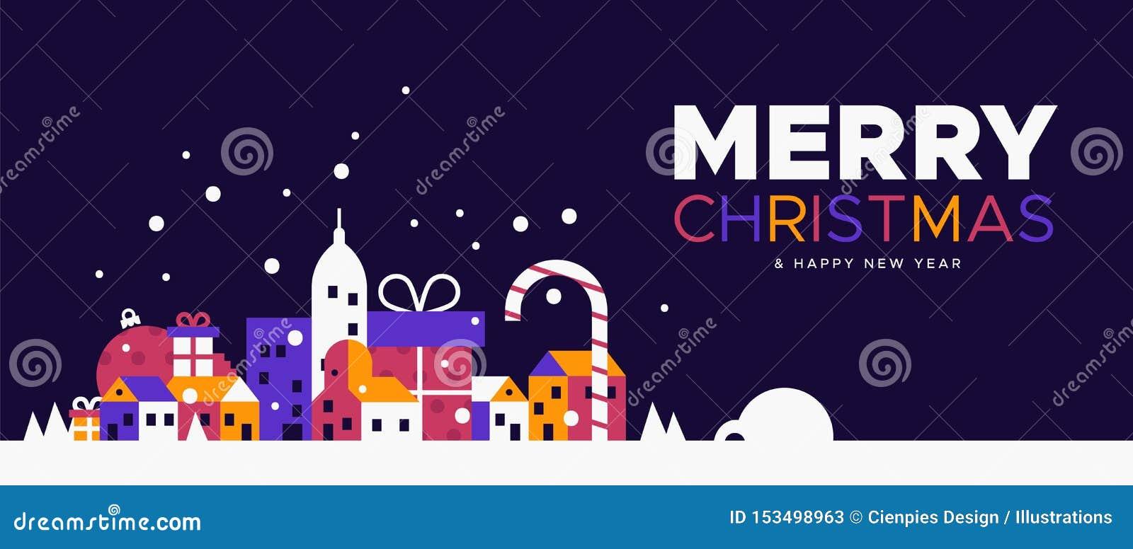 Insegna del nuovo anno e di Natale della città di inverno