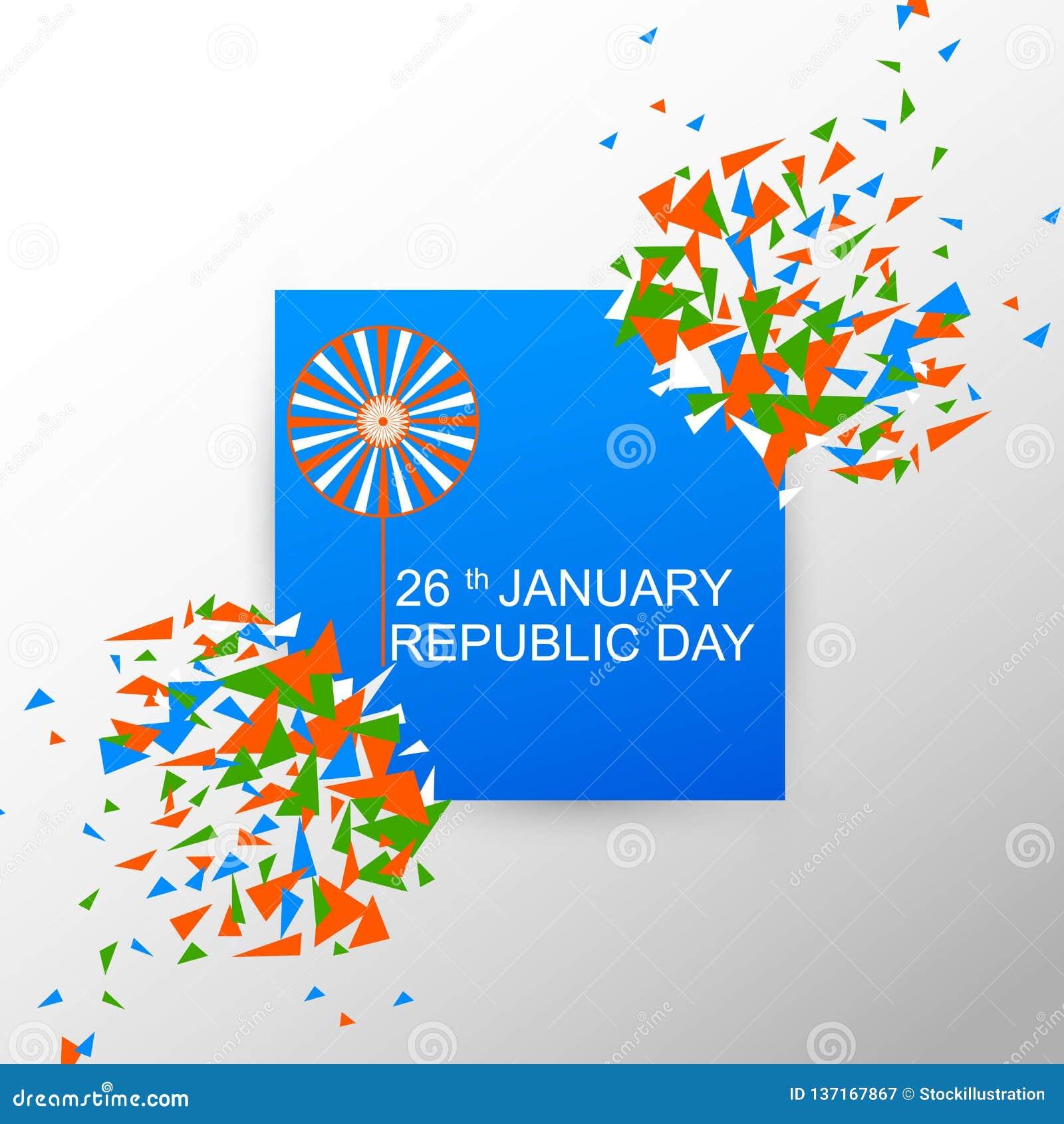 Insegna della pubblicità di promozione di vendita per il 26 gennaio, giorno felice della Repubblica dell India