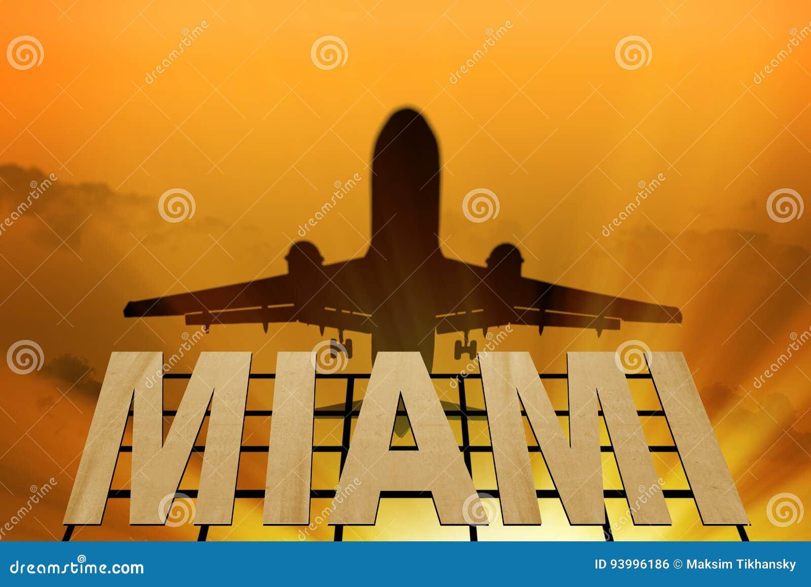 Insegna della siluetta dell aeroplano e di Miami