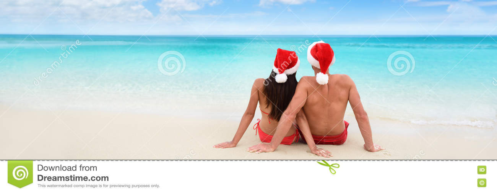 Insegna delle coppie di feste di vacanza della spiaggia di Natale