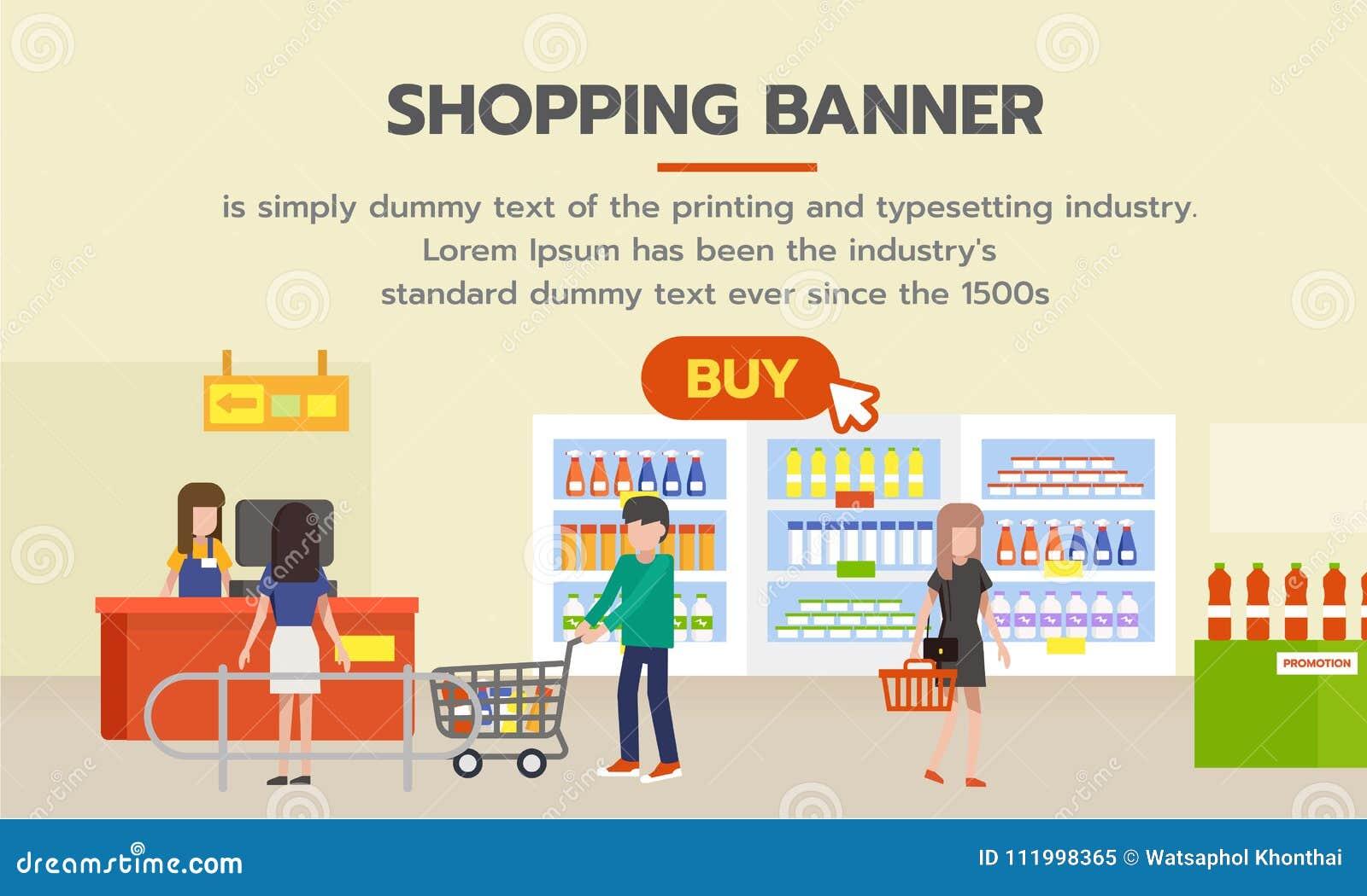 1f34ef66ed Insegna di acquisto con il bottone dell'affare per la compera online La  gente che compera nel supermercato e nei prodotti d'acquisto dalla  drogheria ...