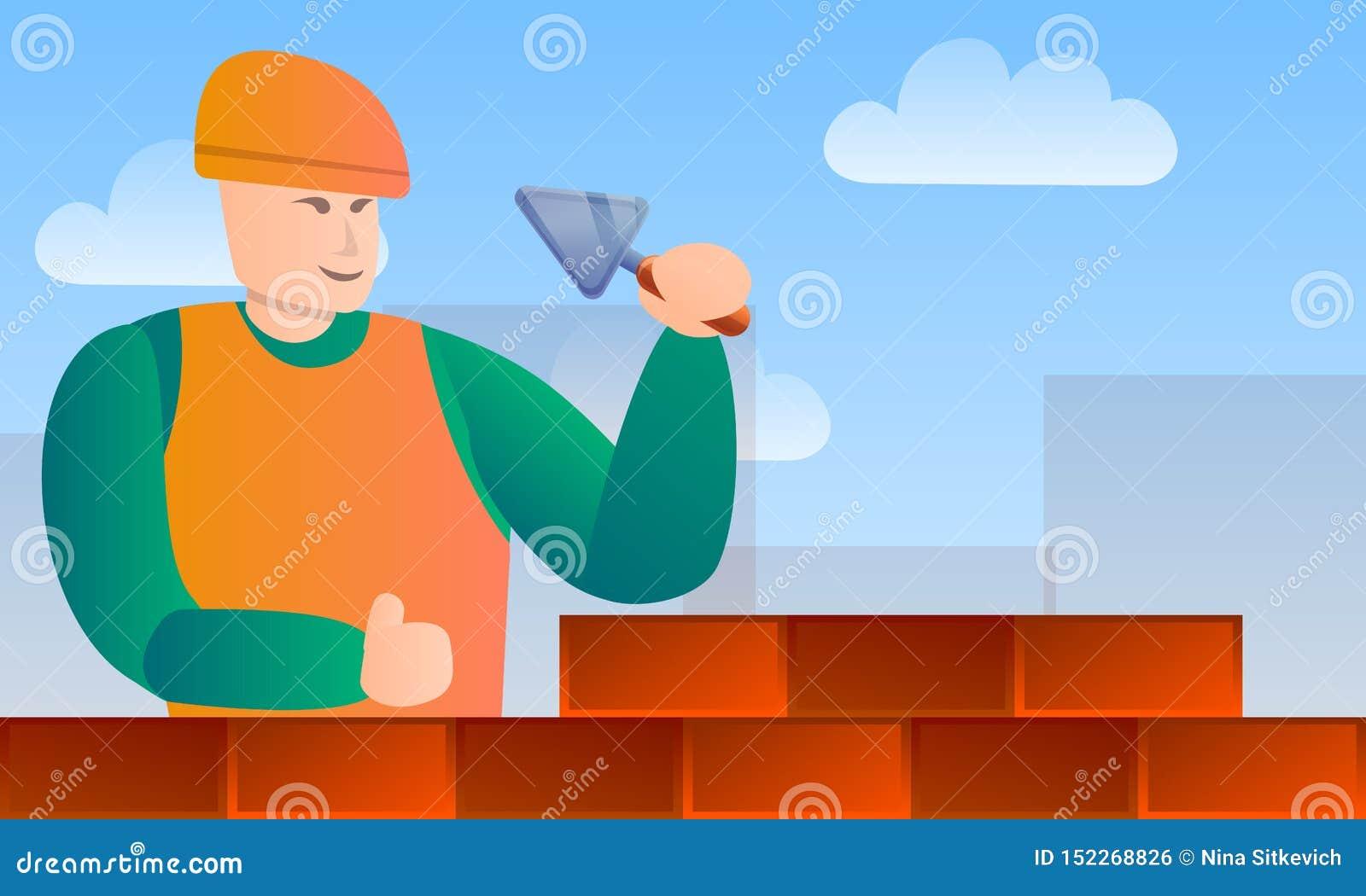 Insegna di concetto degli strumenti del lavoratore della muratura, stile del fumetto