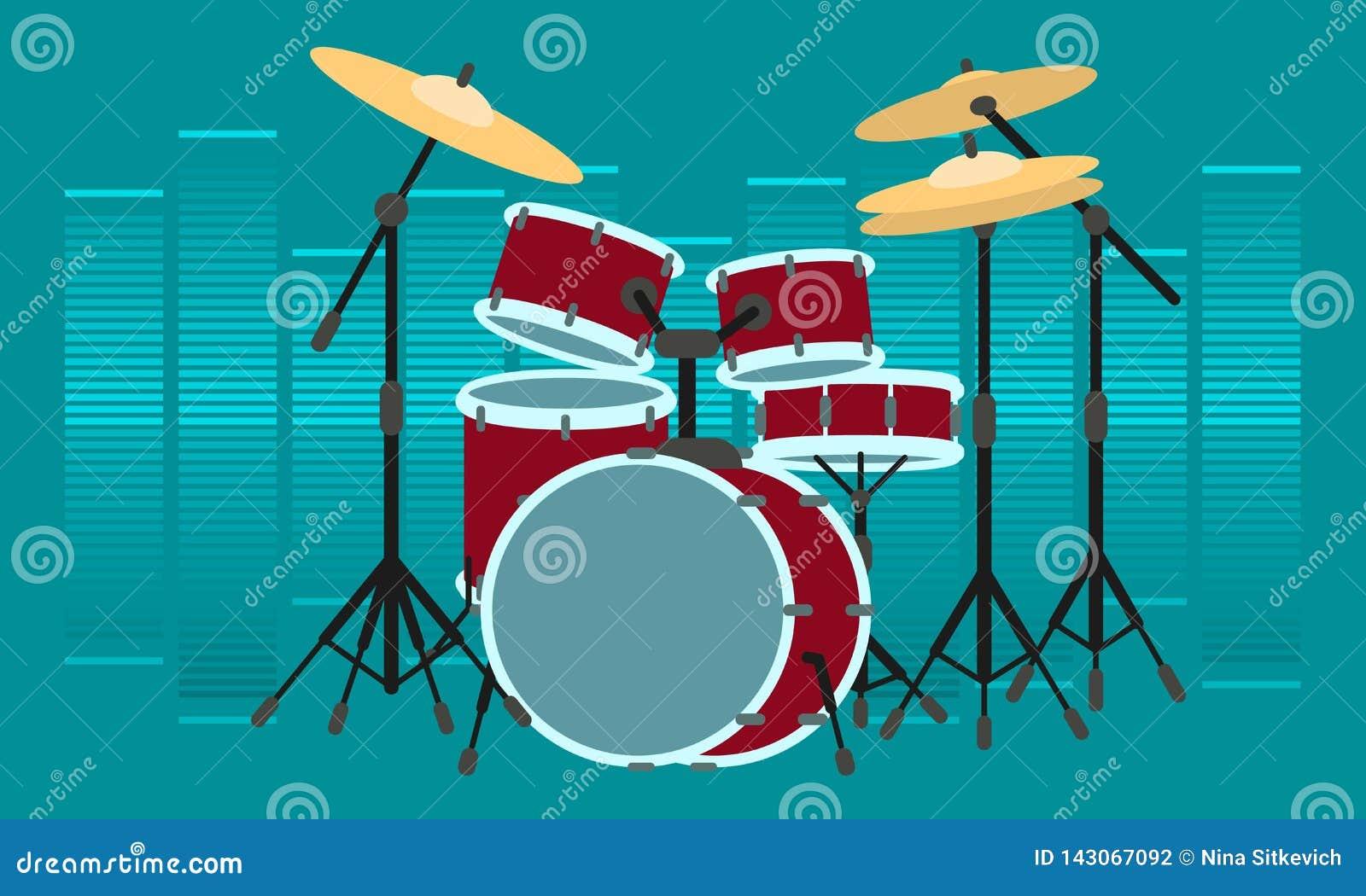 Insegna di concetto dello strumento del batterista, stile piano