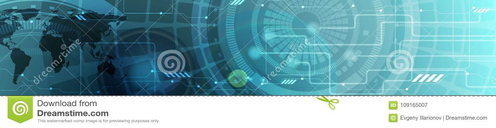 Insegna di intestazione blu di web di tecnologia astratta