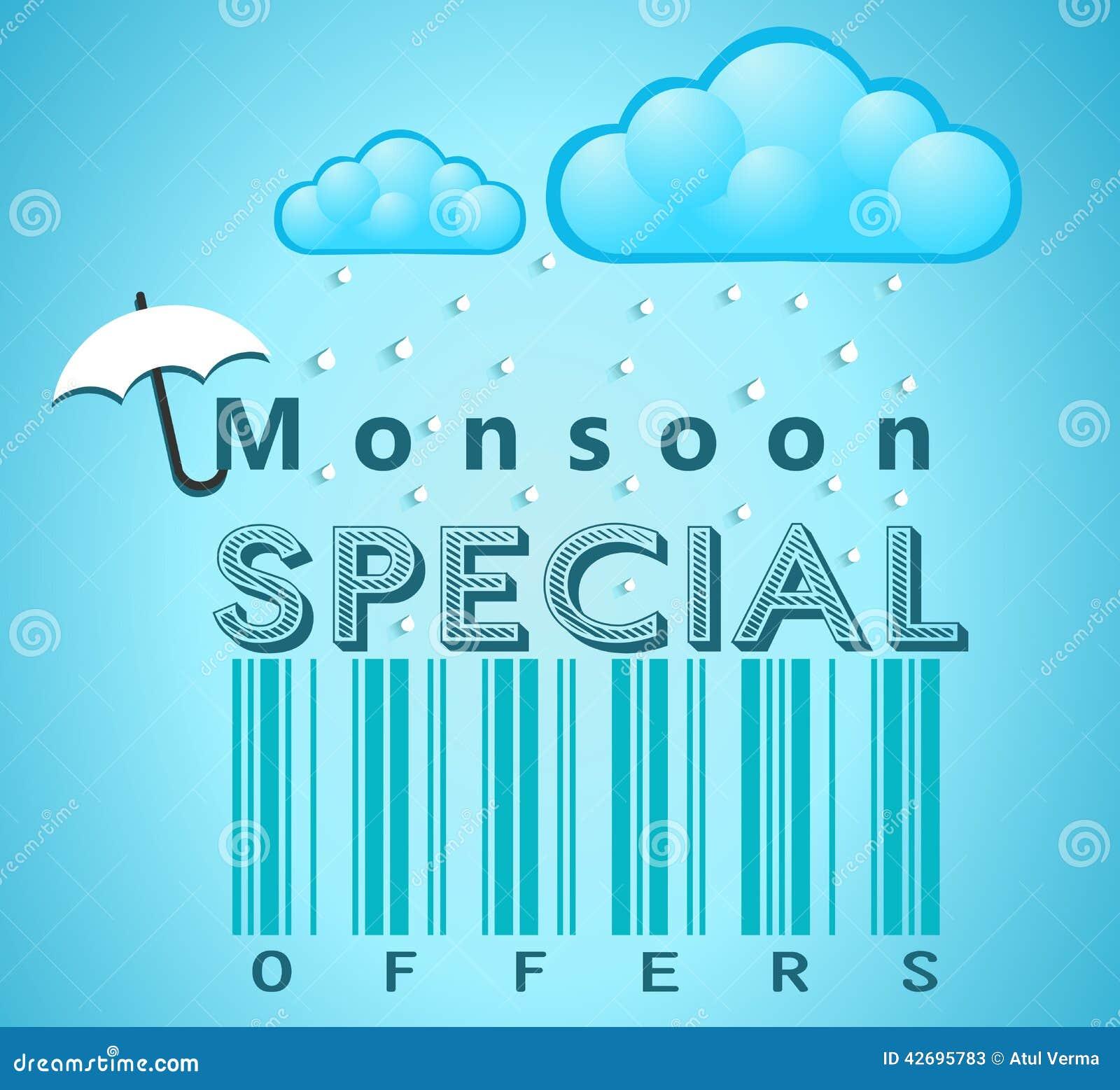 Insegna di offerta speciale e di vendita di monsone, aletta di filatoio o manifesto con pioggia ed il concetto aperto dell ombrel