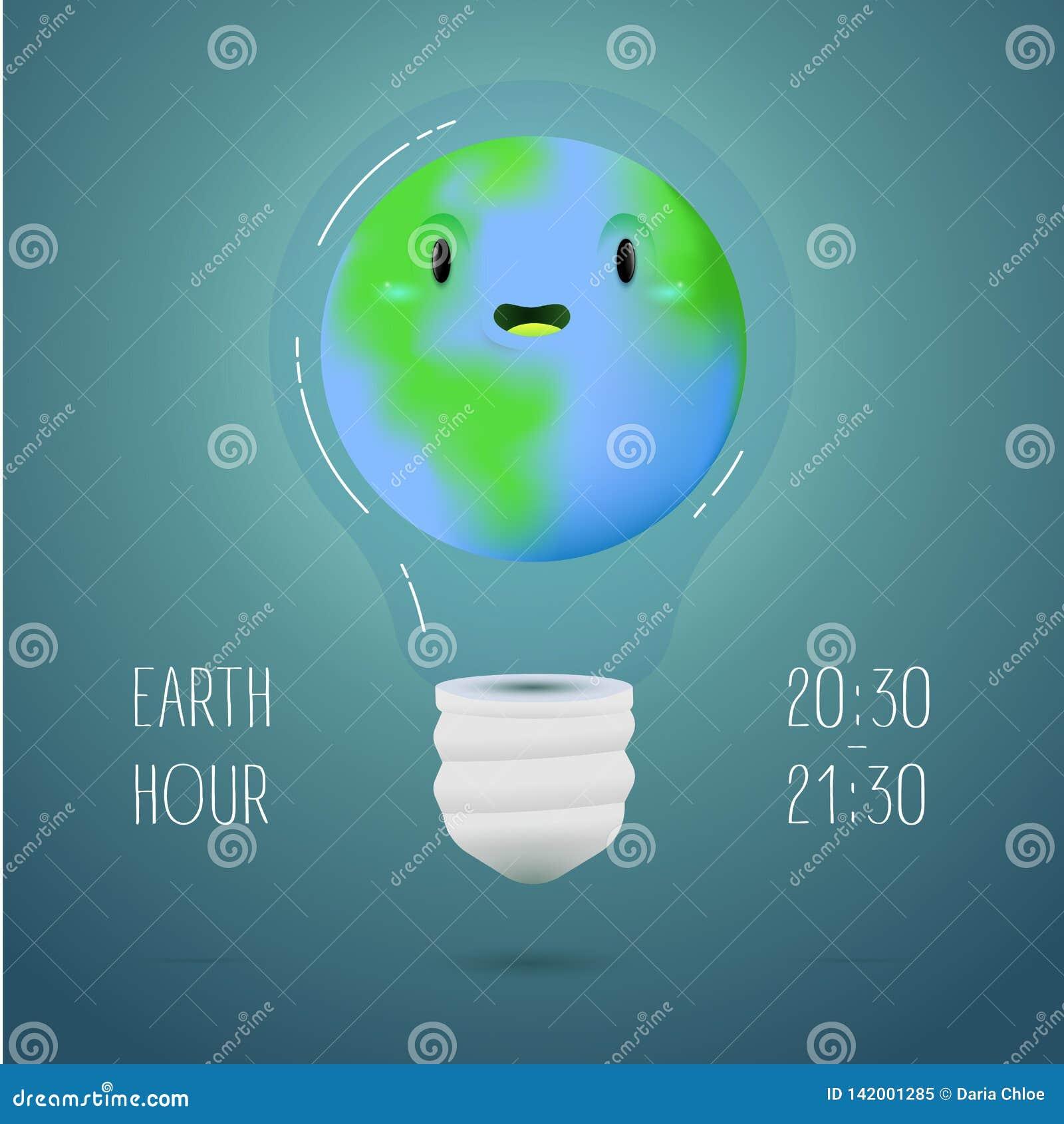 Insegna di ora della terra con terra dentro della lampada