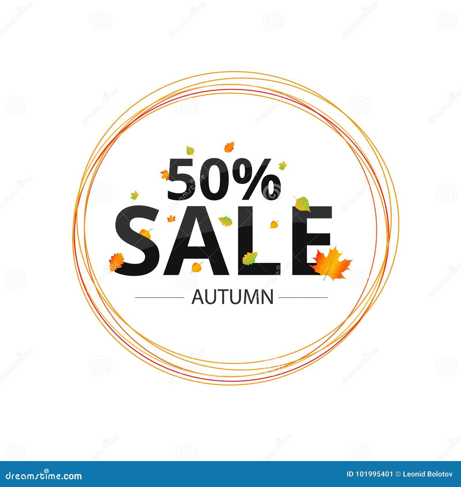 Insegna di vendita di vettore del fogliame di autunno dell acquerello