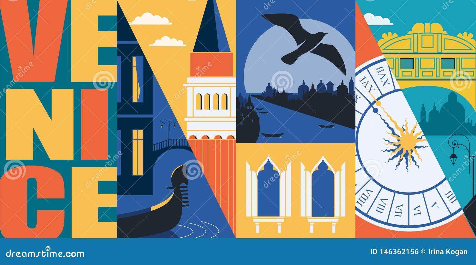Insegna di vettore di Venezia, Italia, illustrazione Orizzonte della città, canal grande, San Marco