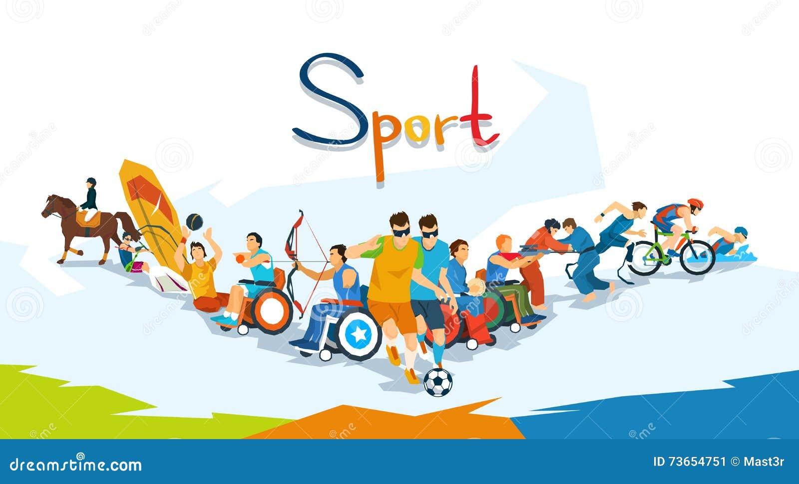 Insegna disabile della competizione sportiva degli atleti