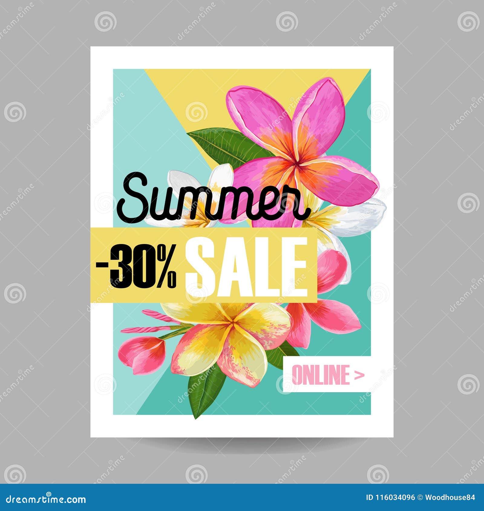 Insegna floreale di vendita di estate Pubblicità stagionale di sconto con i fiori rosa di plumeria Primavera tropicale di paradis